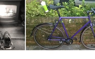split image of Ben's living room and his training road bike