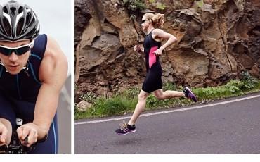 split image of two triathletes