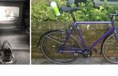 split image of Ben's living room and his training road bike
